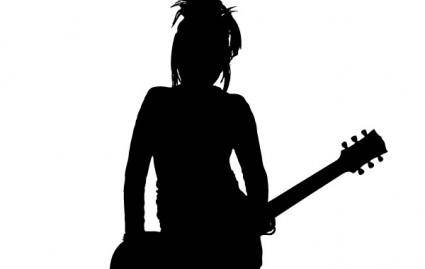 free vector Girl Rocker Silhouette