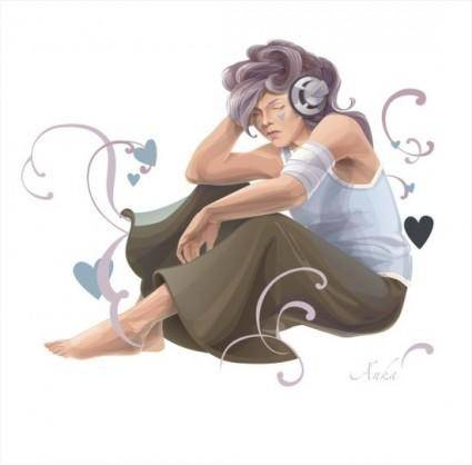 free vector Woman Listening To Music