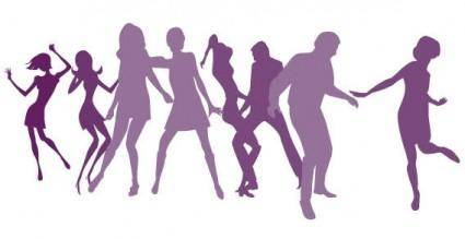 Dancing girls silhouettes vector