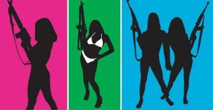 free vector Girls with gun silhouettes