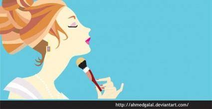 free vector Make-up girl vector