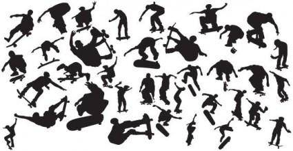 free vector Vector skaters silhouettes