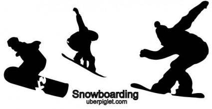 free vector Vector snowboarding silhouettes