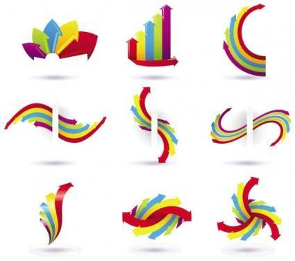 free vector Colored arrows vector