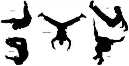 Sports people silhouettes free vector