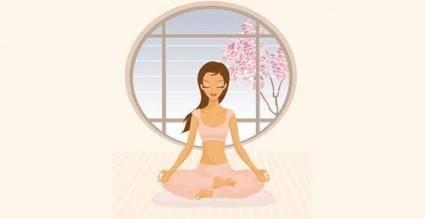 Yoga girl vector graphics