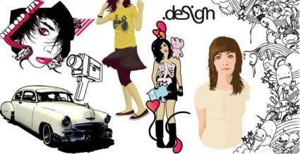 free vector Car and girls vector