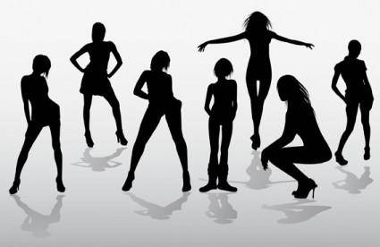 Girls silhouettes free vector