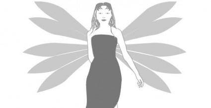 Fantasy angels girl wings free vector