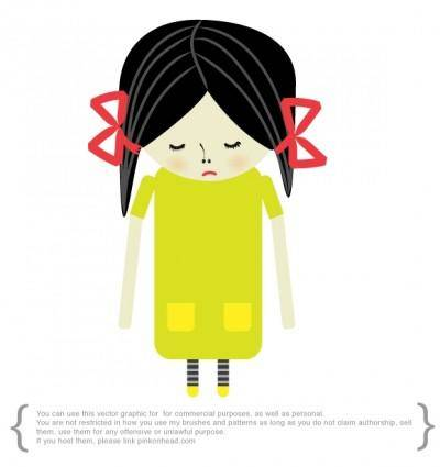 free vector Sad girl
