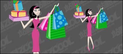free vector Women shopping vector material