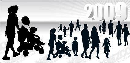 free vector People with three-dimensional silhouette 2009