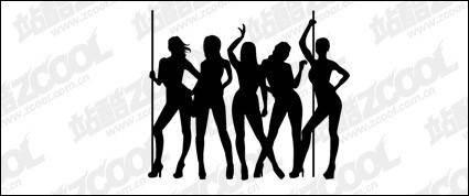 free vector Female dancer silhouette vector material