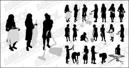 free vector Action figures do housework silhouette vector material