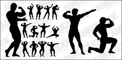 free vector Bodybuilding action figure silhouette vector material