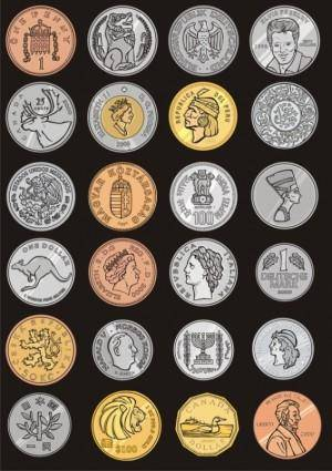 free vector The commemorative coins around the world vector