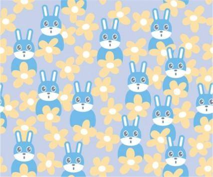 Cute rabbit continuous background vector flowers