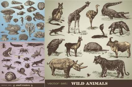 free vector Handpainted animals vector