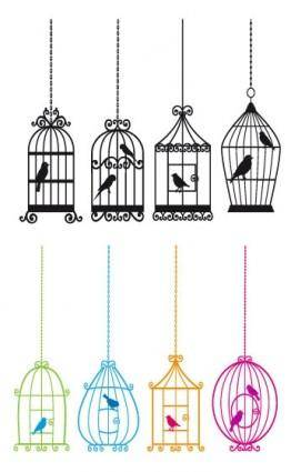 Bird and birdcage vector