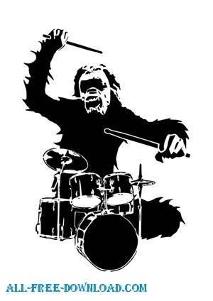free vector Drum monkey