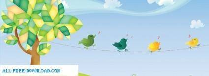free vector Singing Birds