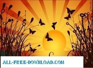 free vector Plants Sunset Butterflies