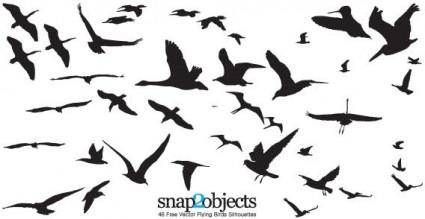46  flying birds silhouettes