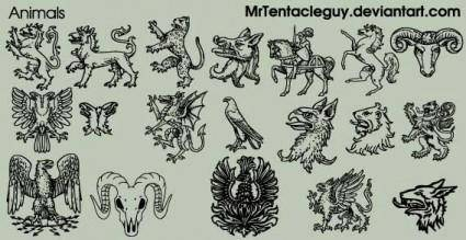 free vector Heraldic animals