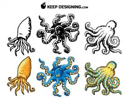 Octopus Design Vectors- Free