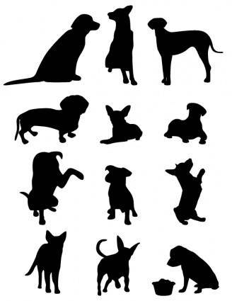 free vector 13 Dog Vector Silhouettes
