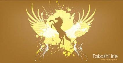 free vector Animals horse wings splatter abstract