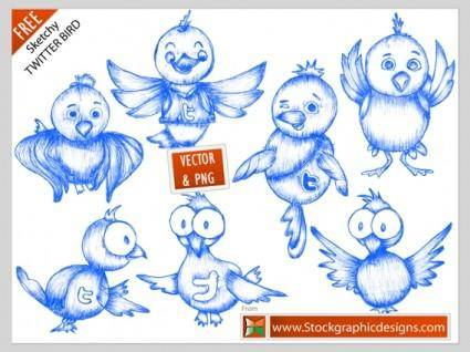 Free twitter bird icons vector