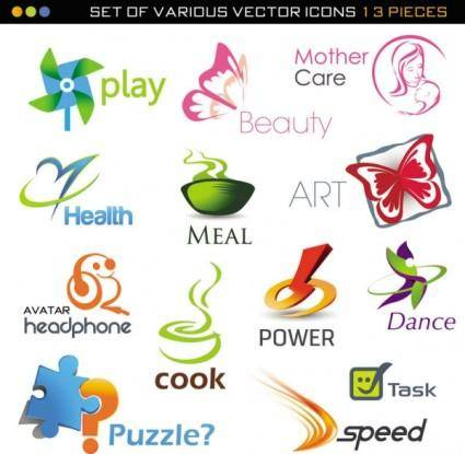 free vector Beautiful set of 02 threedimensional logo