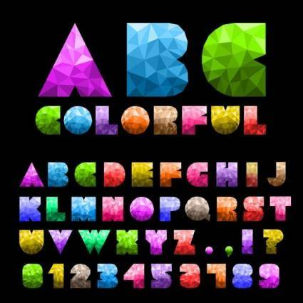 Colorful letters and numbers 01 vector