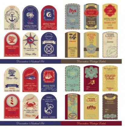 free vector Oldfashioned tag set vector