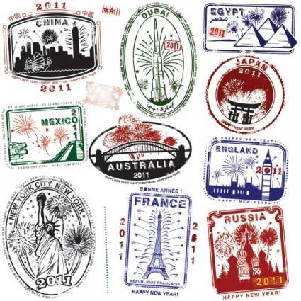 free vector World landmarks seal 04 vector