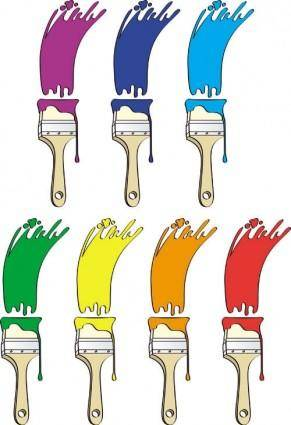 Different colors of paint brush 01 vector