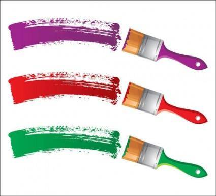 free vector Different colors of paint brush 04 vector