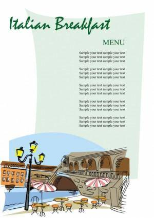 Romantic handpainted menu 02 vector