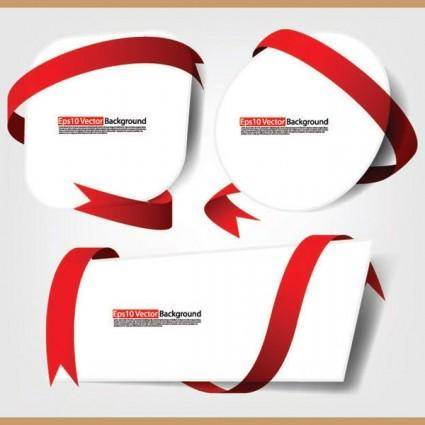 free vector Red ribbon and cardboard vector 3