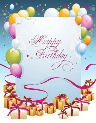 free vector Happy birthday postcard 03 vector