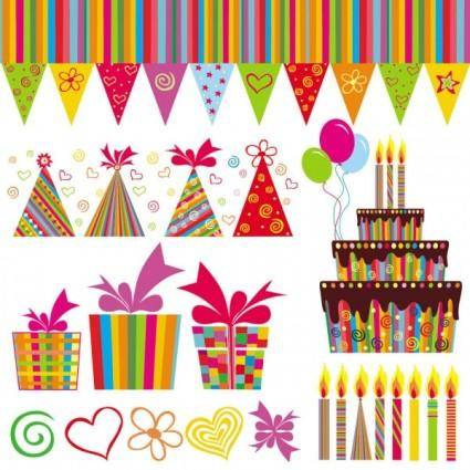 free vector Exquisite handpainted elements birthday 04 vector