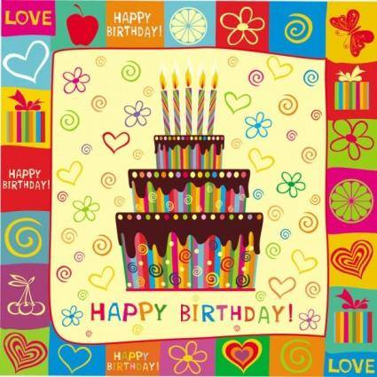 free vector Exquisite handpainted elements birthday 01 vector