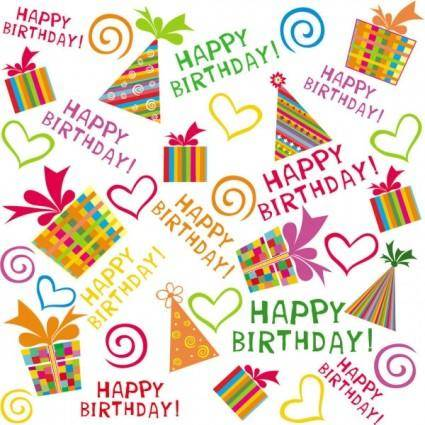 free vector Exquisite handpainted elements birthday 02 vector