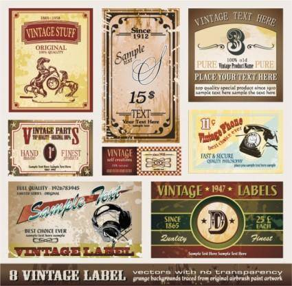 European classic bottle label 01 vector