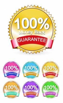 free vector Satisfaction guarantee label 05 vector