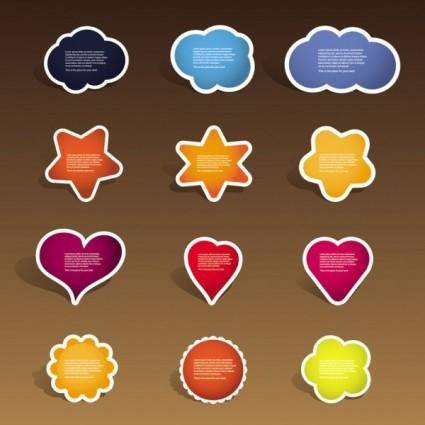 Cute labels 04 vector