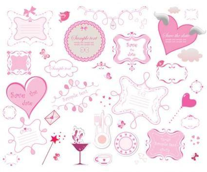 free vector Pink romantic elements vector
