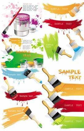 free vector Paint brush with color the vector