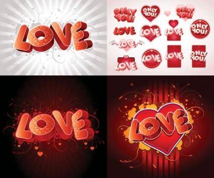 free vector 3d love fonts vector